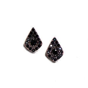 925 Silver Pave Black Cz Tear Drop Earrings/Studs